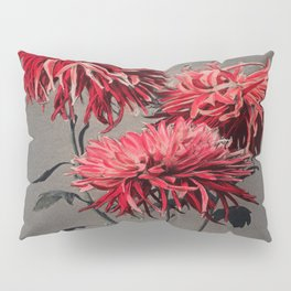 Red Flower Traditional Japanese Flora Pillow Sham