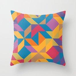 Blue Orange Magenta Yellow Geometric Abstract Throw Pillow