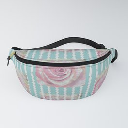 Pink Roses on Blue Fanny Pack