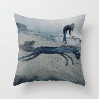 sea horse Throw Pillows featuring Sea horse by Kestere
