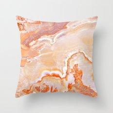 Peach Onyx Marble Throw Pillow