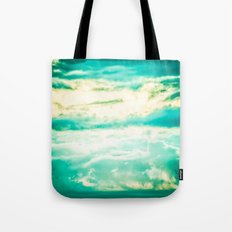 Clouds in a Blue Sky - Vintage Retro Teal Tote Bag