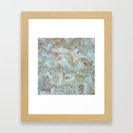Marble in shades of blue and gold Framed Art Print
