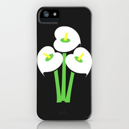 Calla Lily Bouquet (Black) iPhone Case