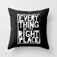 radiohead Throw Pillows featuring Everything in Its Right Place - Radiohead by Bastien13