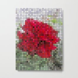 Red Rose Edges Mosaic Metal Print