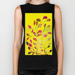 Red and Green Leaves! Yellow Sunshine! Biker Tank