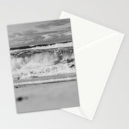 Beach North Sea Waves Denmark Hvide Sande bw Stationery Cards
