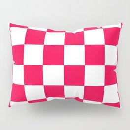 Cheerful Red Checkerboard Pattern Pillow Sham