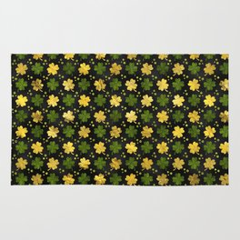 Irish Shamrock Four-leaf clover  Gold black Rug