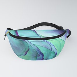 Violet Turquoise Flow - Alcohol Ink Painting Fanny Pack
