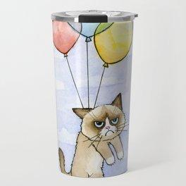 Cat With Balloons Grumpy Birthday Meme Travel Mug