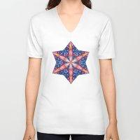sacred geometry V-neck T-shirts featuring Sacred Geometry StarFlake Mandala by Jam.