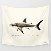 scuba Wall Tapestries featuring Carcharodon carcharias II ~ Great White Shark by Amber Marine