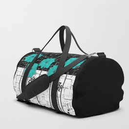 Turquoise flowers on black and white background . Duffle Bag