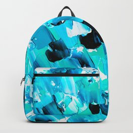 Modern abstract mermaid turquoise blue brushstrokes acrylic paint Backpack
