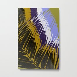 Palm Leaves Purple and Gold Metal Print