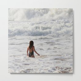 Breaking wave and girl Metal Print