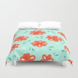 Cheerful Red Flowers Pattern Duvet Cover