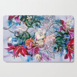 Tropical Summer Doodle Cutting Board