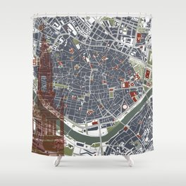 Seville city map engraving Shower Curtain