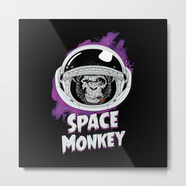 Space Monkey Retro Black Metal Print
