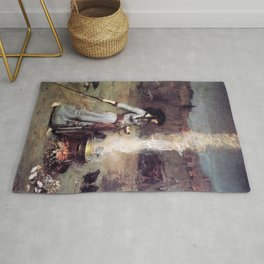 THE MAGIC CIRCLE - JOHN WILLIAM WATERHOUSE Rug