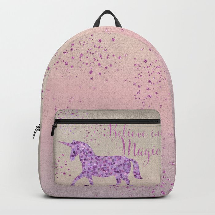Pink and Purple Glamour Unicorn Believe in Magic Backpack