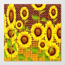 SPICE BROWN SUNFLOWERS ART Canvas Print