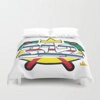 blackhawks Duvet Covers featuring Chicago Pride Blackhawks by TyRex Creations