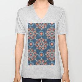 Large Flower Mandalas in Bold Indigo Blues Desert Reds Gray Unisex V-Neck
