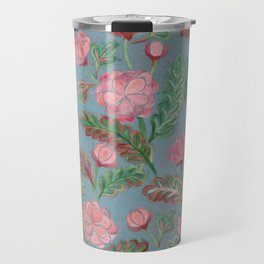 Soft Smudgy Pink and Green Floral Pattern Travel Mug