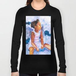 Watercolor Hummingbird Angel on Wrinkled Paper Long Sleeve T-shirt
