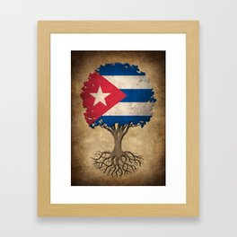 Vintage Tree of Life with Flag of Cuba Framed Art Print