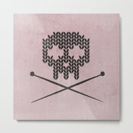 Knitted Skull / Knitting with Attitude (Black on antique rose colour) Metal Print