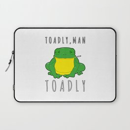Toadly, Man. Toadly Funny Smoking Toad Frog Amphibian Medical Student Laptop Sleeve