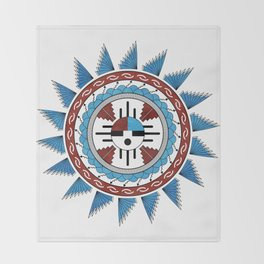 Southwest Native American Art Mandala Throw Blanket