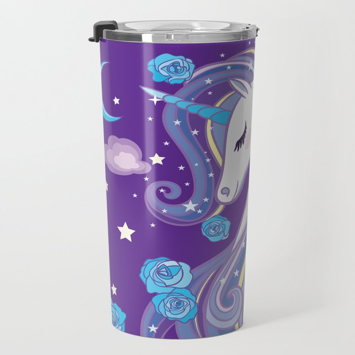 Magical Unicorn in Purple Sky Travel Mug