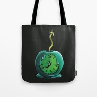 haunted mansion Tote Bags featuring Haunted Mansion 13th Hour Clock Apple by ArtisticAtrocities