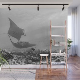 Swooping Manta rays in black & white Wall Mural