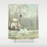 rowing Shower Curtains featuring Breaking Waves by anipani