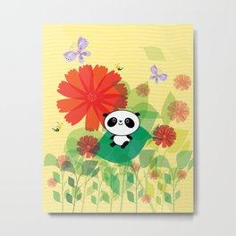 panda and flowers Metal Print