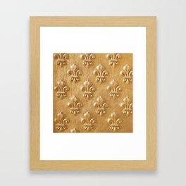 Golden Fleur de lys wood wall Framed Art Print