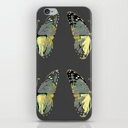 CHARCOAL GREY WESTERN STYLE BUTTERFLIES iPhone Skin
