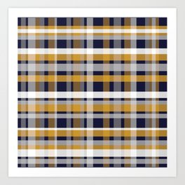 Modern Retro Plaid in Mustard Yellow, White, Navy Blue, and Grey Art Print