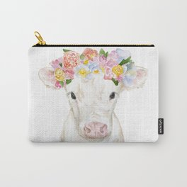 White Calf with Floral Crown Carry-All Pouch