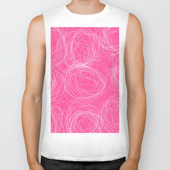 Abstract white circles and dots - abstract pattern - on pink Biker Tank