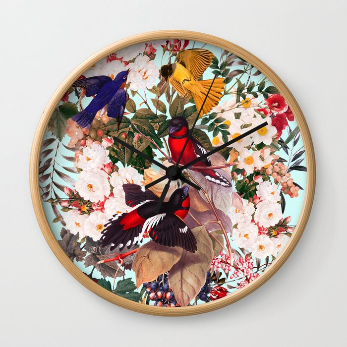 Floral and Birds XXXI Wall Clock