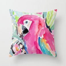 SCARLET THE MACAW Throw Pillow