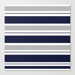 Navy Blue and Grey Stripe Canvas Print